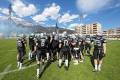 Raiders versus Vikingen reuzen stock afbeelding