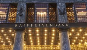 Raiffeisen Bank en Viena Austria imagen de archivo