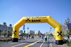 Raiffeisen Bank and the marathon Stock Photos