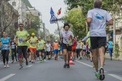 Raiffeisen banka Bucharest Międzynarodowy maraton 04 10 2015 Zdjęcia Stock