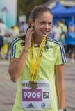 Raiffeisen bankBucharest internationell maraton 04 10 2015 Arkivfoto