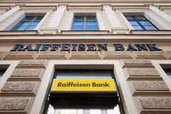 Raiffeisen logo on their main bank in the center of Szeged. Raiffeisen is an Austrian bank Stock Photo