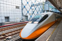Rail à grande vitesse de Taïwan à la station de Zuoying Photographie stock libre de droits