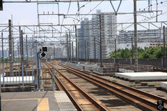 Rail. Japan's main island Honshu is covered by a network of high speed train lines that connect Tokyo with most of the island's major cities and Fukuoka  on the Royalty Free Stock Photos