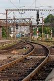 Rail. A train rail in a station stock photos