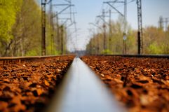 Rail. Low perspective of a single rail - shallow depth of field stock photos