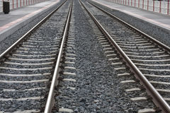 Rail. Detail view of city rail departure platform Stock Photography