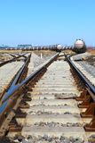 Rail. Tanks with fuel being transported by rail royalty free stock photo