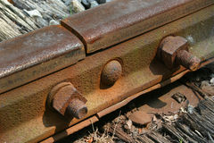 Rail. Joint in railway line Stock Photos