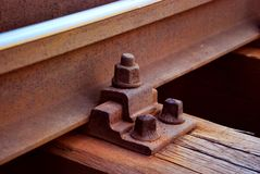 Rail anchor closeup. Closeup view of a railroad anchor connecting an iron rail to a wooden sleeper or tie royalty free stock photos