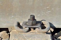 Rail And Concrete Sleeper Closeup Royalty Free Stock Image