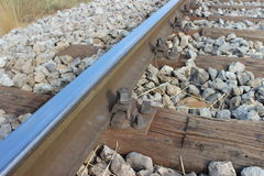 Rail and bolt, detail of old railroad track Stock Image