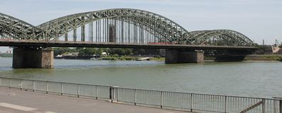 The rail bridge in Cologne, Germany Royalty Free Stock Photos