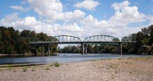 Rail Bridge crossing river stock photography