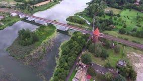 Rail bridge over river. Rail bridge over big river stock footage