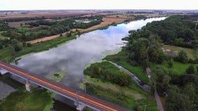 Rail bridge over river. Rail bridge over big river stock video