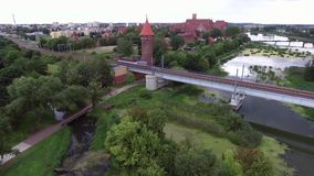Rail bridge over river stock footage