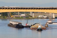 Rail Bridge Sand Barge Maneuvering Royalty Free Stock Image