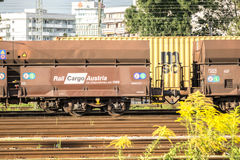 Rail Cargo Austria. Freighttrain of the austrian Rail Cargo with copy space Royalty Free Stock Images