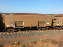 Rail carriage filled with Iron ore Western Australia royalty free stock photography