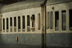 Rail cars going to and fro at the old station in Bangkok Stock Photography