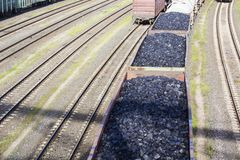 Rail cars loaded with coal. Royalty Free Stock Images