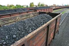 Rail cars loaded with coal Stock Photography