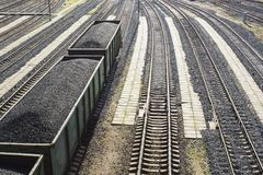 Rail cars loaded with coal. Stock Photo