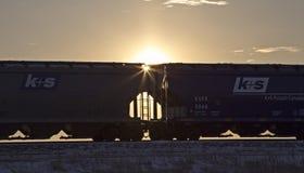 Rail Cars Sunset Stock Photography