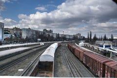 Rail cars and tracks. Railyard with railway cars and tracks. Chisinau, Moldova in stock photography