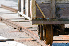 Rail cart used for collecting salt Royalty Free Stock Images