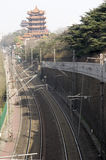 Rail in city. Railway in Wuhan city in China,lots of electric wire can be seen up the rail Royalty Free Stock Photos