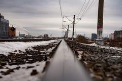 Rail in city landscape stock image