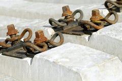 Rail concrete sleepers. Stock Photo