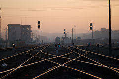 Rail Conjunction in Dawn. Beautiful scene of a railway conjunction in dawn Stock Image