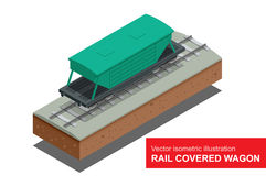Rail covered wagon. Vector isometric illustration of  rail covered wagon. Rail freight transportation. Stock Photos