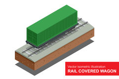 Rail covered wagon. Vector isometric illustration of  rail covered wagon. Rail freight transportation. Royalty Free Stock Image