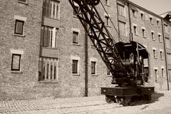 Rail crane in sepia Royalty Free Stock Images