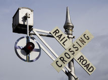 Rail crossing. Old railroad crossing sign Stock Image