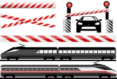 Rail crossing. Essential illustration that describes rail crossing and trains Stock Image