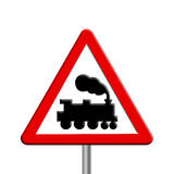 Rail crossing - road sign Stock Image