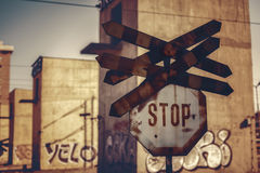 Rail crossing stop sign Stock Images