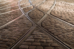 Rail crossing of tramway in Freiburg, Germany Stock Photos