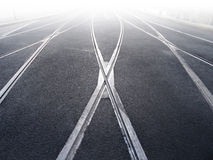 Rail crossing of tramway Royalty Free Stock Images