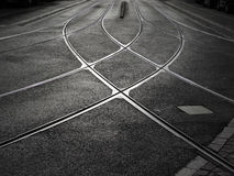 Rail crossing of tramway Royalty Free Stock Photos
