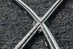 Rail crossings as transportation background.  royalty free stock photo