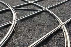 Rail crossings as transportation background.  royalty free stock images