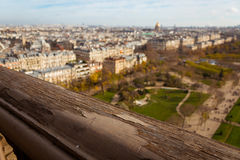 Rail of the Eiffel Tower and the view of Paris Royalty Free Stock Images