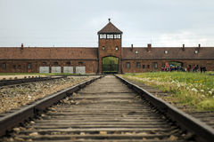 Rail entrance to concentration camp Auschwitz Birkenau KZ Poland Royalty Free Stock Images