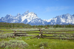 Rail fence in field below Grand Teton mountain ran Royalty Free Stock Images